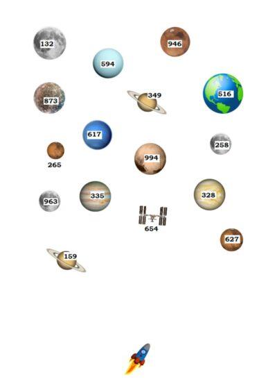 Planeten – auditive Merkfähigkeit Zahlen