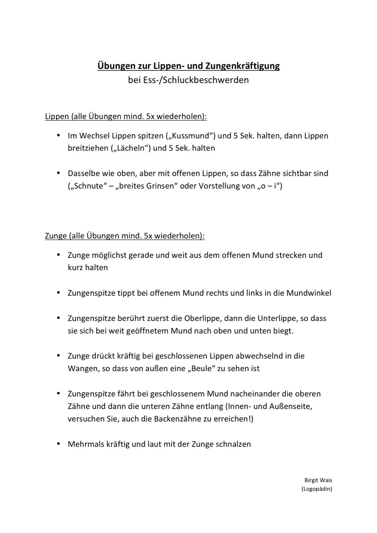 Sammlungen mit Übungsblatt Zungen-Mund-Motorik - Dysphagie - madoo.net