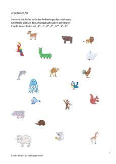 alphabetische Reihenfolge mit Bild