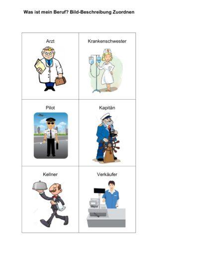 Berufe: Bild-Beschreibung Zuordnen