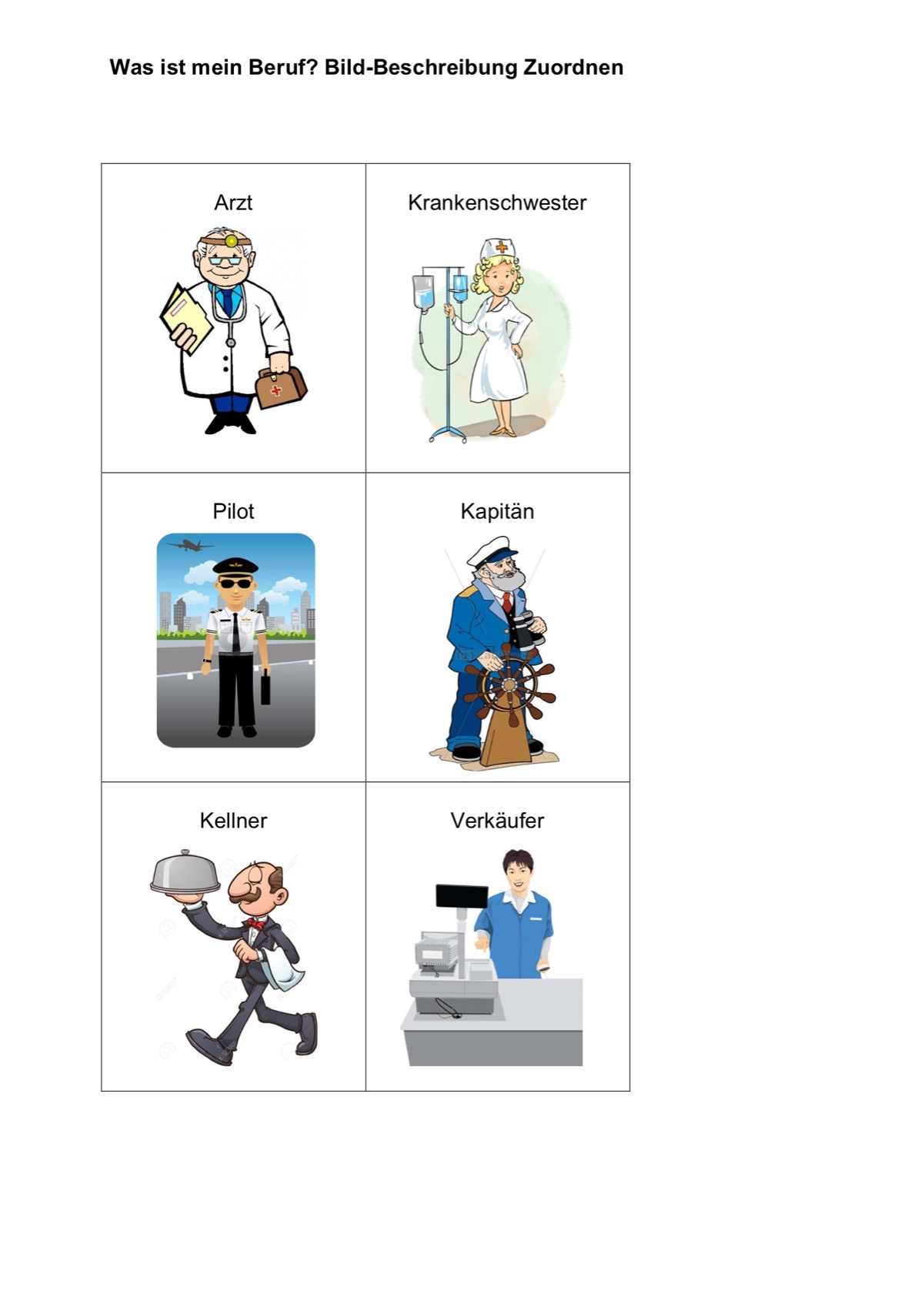 Berufe zuordnen - Aphasie - madoo.net
