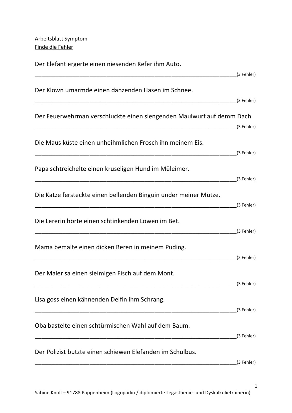 Fehler finden in Quatsch-Sätzen - LRS - madoo.net