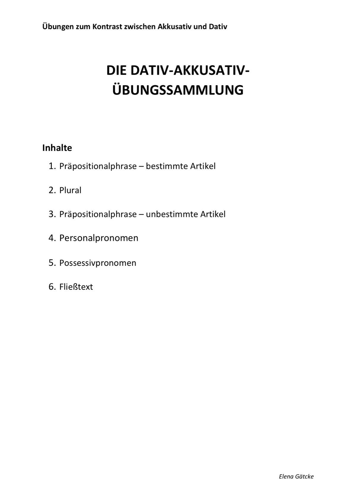 Sammlungen (Seite 3) mit Übungen zum Kontrast zwischen Akkusativ und ...