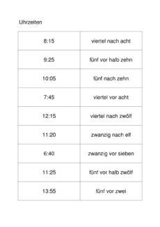 Uhrzeiten zuordnen