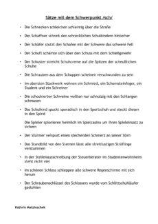 Sätze mit /sch/ – Teil 2