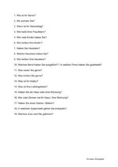 Fragen zur Persönlichkeit