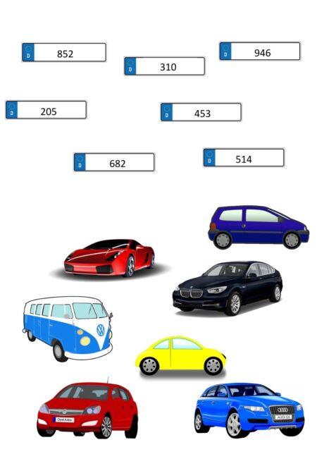Merkfähigkeit Nummernschilder