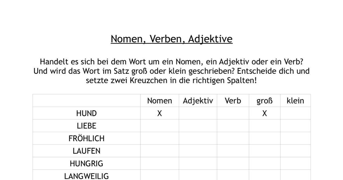 Arbeitsblätter Verben Adjektive Nomen : Nomen verben oder adjektive lrs madoo