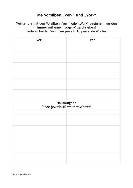 """Vorsilben """"ver"""" und """"vor"""""""