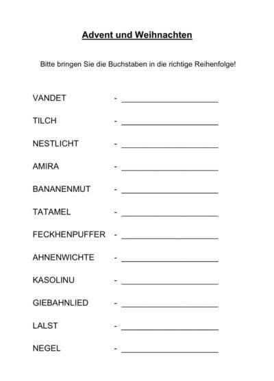 """Schüttelwörter zum Thema """"Advent und Weihnachten"""""""