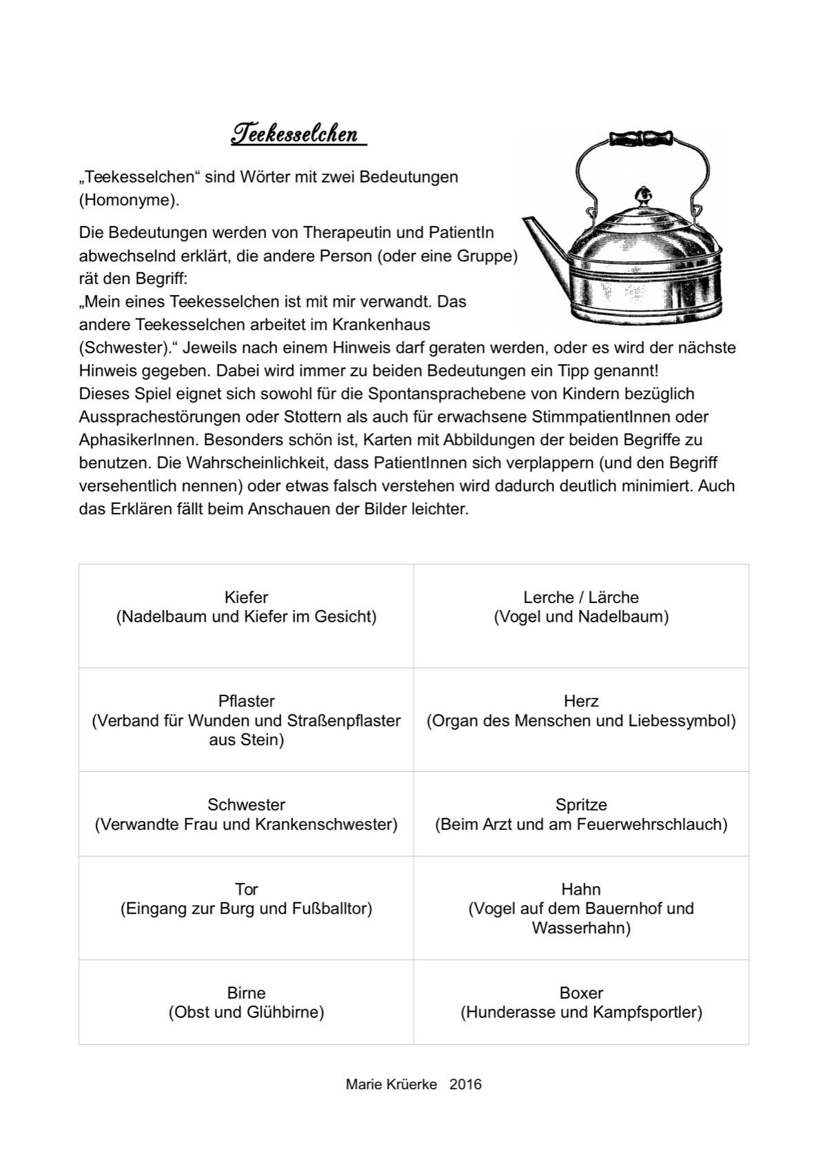 Therapiematerial zum Thema Homonyme - Therapiematerial Logopädie ...