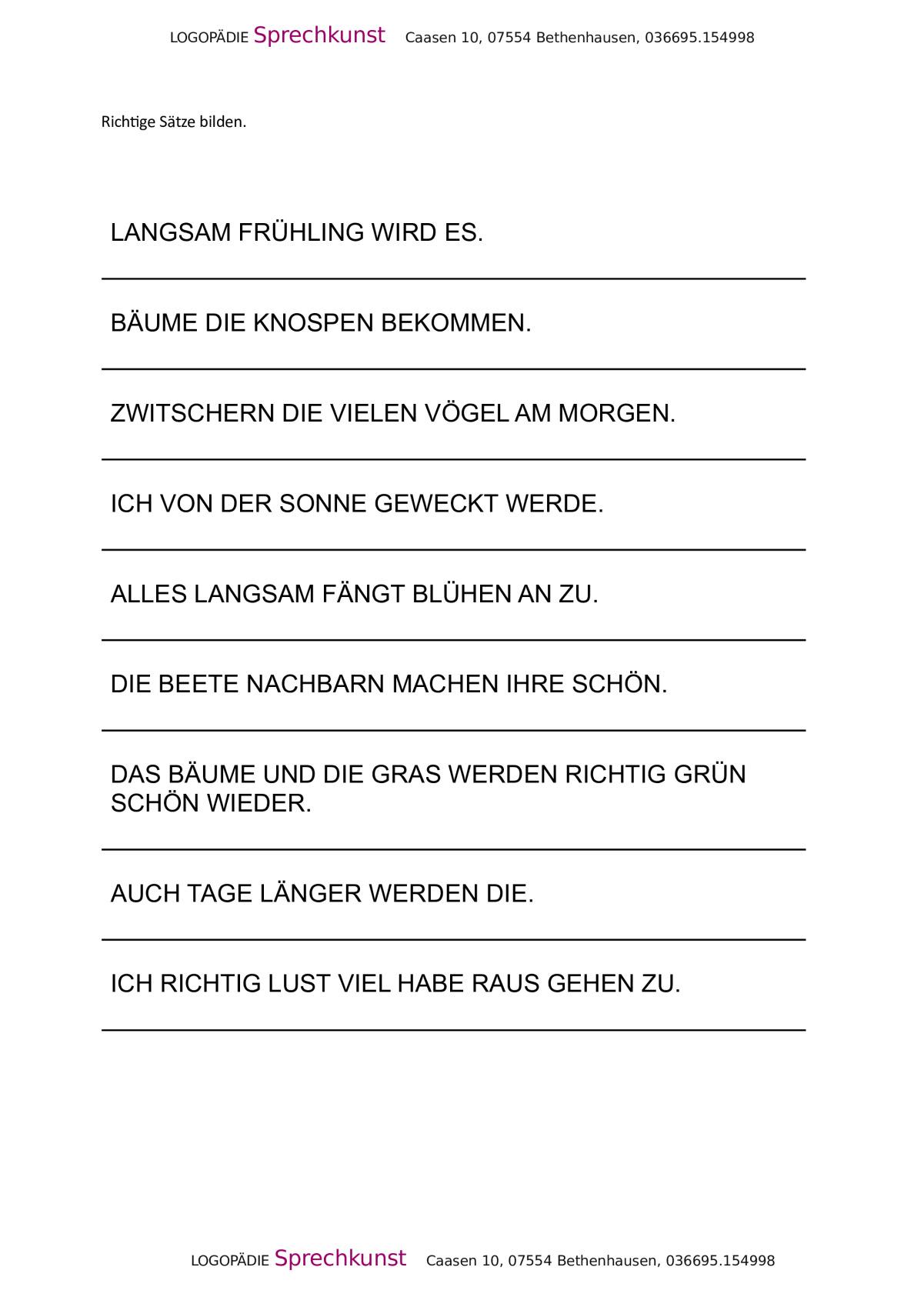 Therapiematerial zum Thema Satzbau - Therapiematerial Logopädie ...