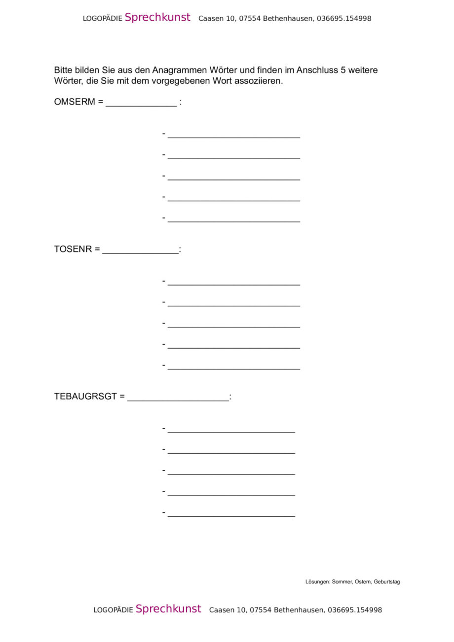 Anagramme und Begriffe zuordnen