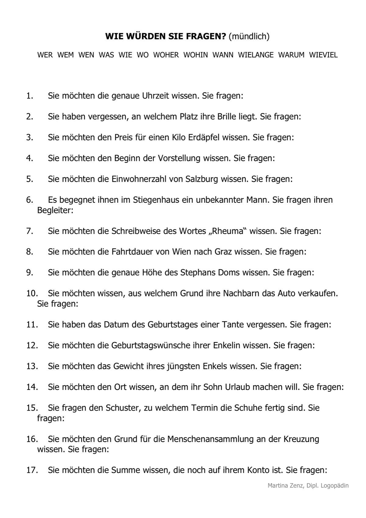 Therapiematerial zum Thema Fragen - Therapiematerial Logopädie ...