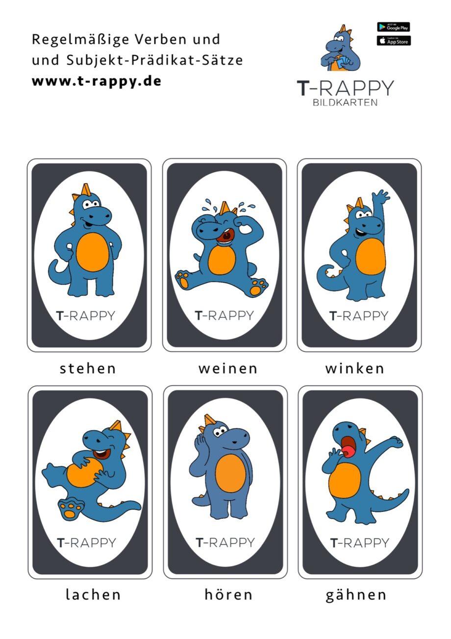 T-Rappy Bildkarten für regelmäßige Verben