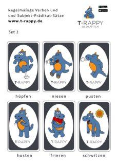 T-Rappy Bildkarten für regelmäßige Verben Set 2
