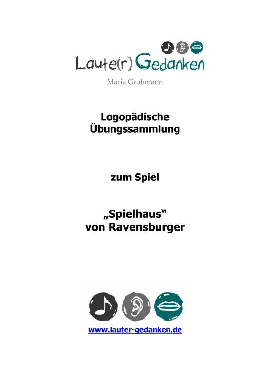 """Übungsmaterial zum Spiel """"Spielhaus"""" (Ravensburger)"""