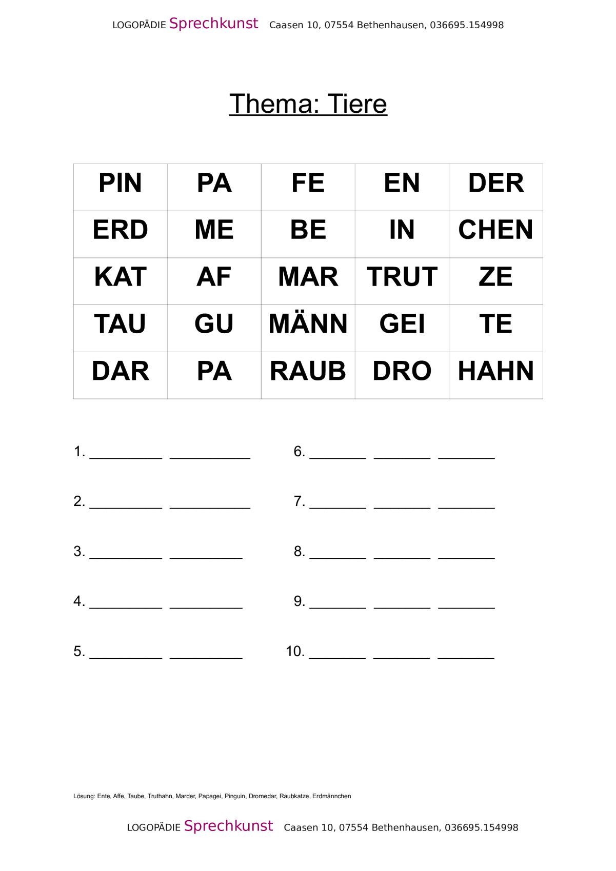 Silbenanagramme lösen - Thema Tiere - Aphasie - madoo.net