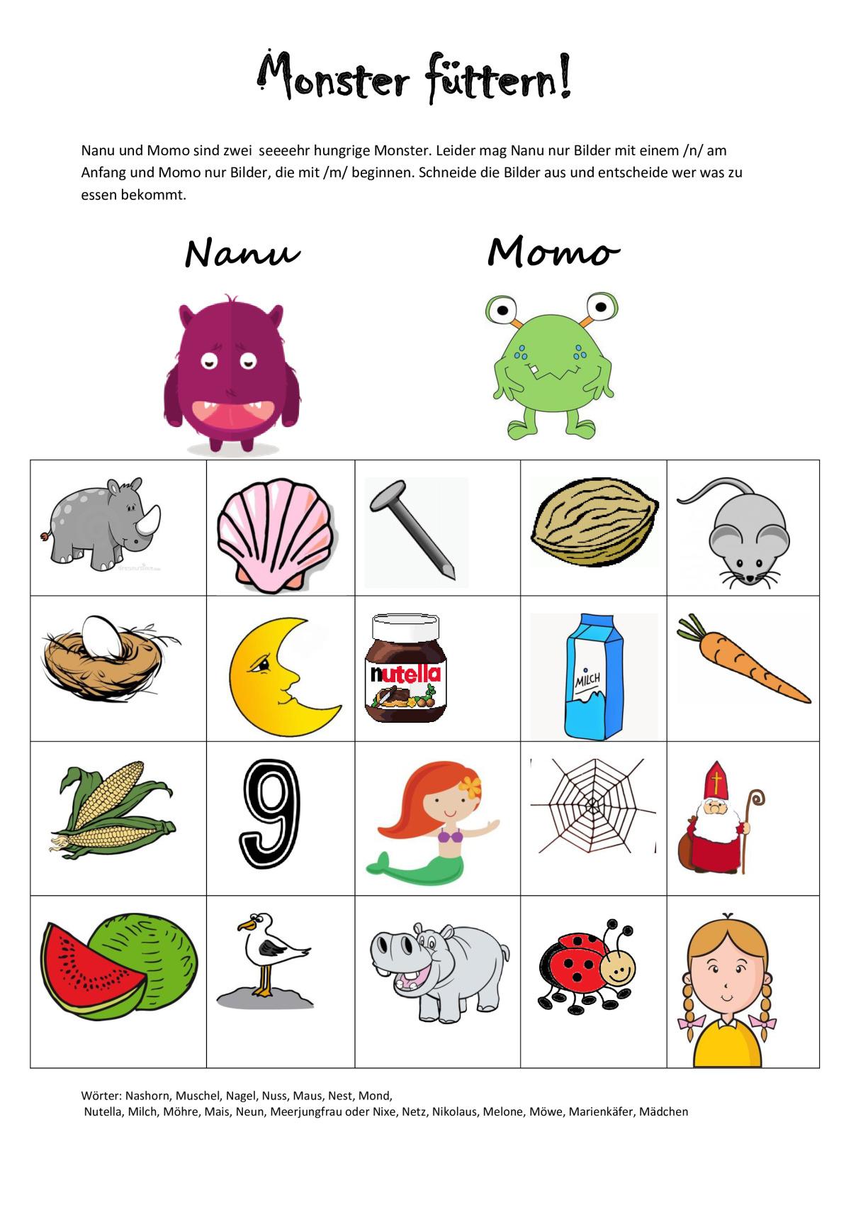 Sammlungen mit Monster füttern - Dyslalie - madoo.net