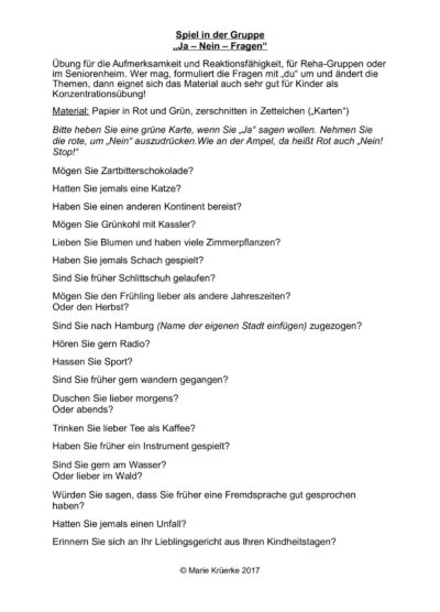 """""""Ja-Nein-Spiel"""" für Gruppen"""