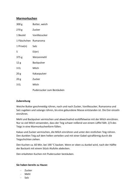 Textarbeit mit Backrezept