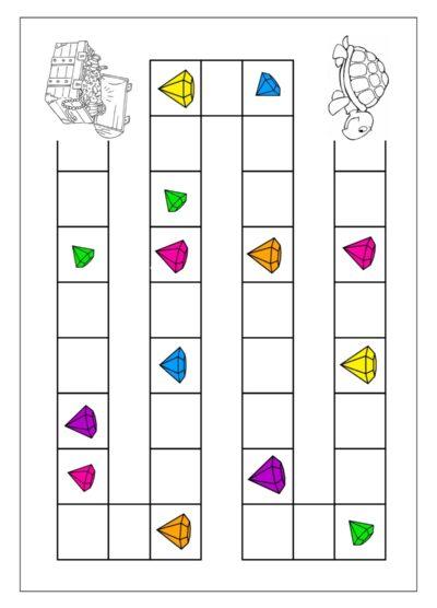 Spielplan mit Schildkröte und Schatz