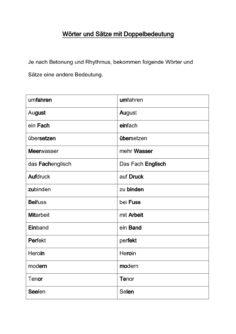 Wörter und Sätze mit Doppelbedeutung