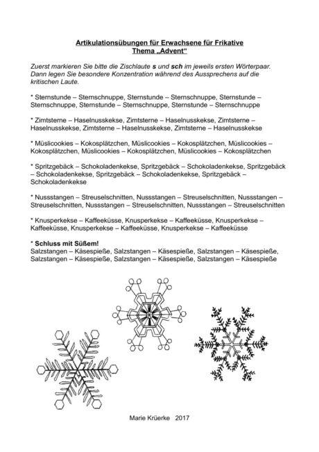 Artikulationsübung S und Sch im Advent