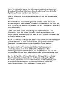 Text Geschichte der Kölner Weihnachtsmärkte