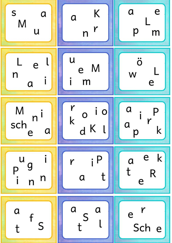 Wortkarten zu den lautgetreuen Bildern