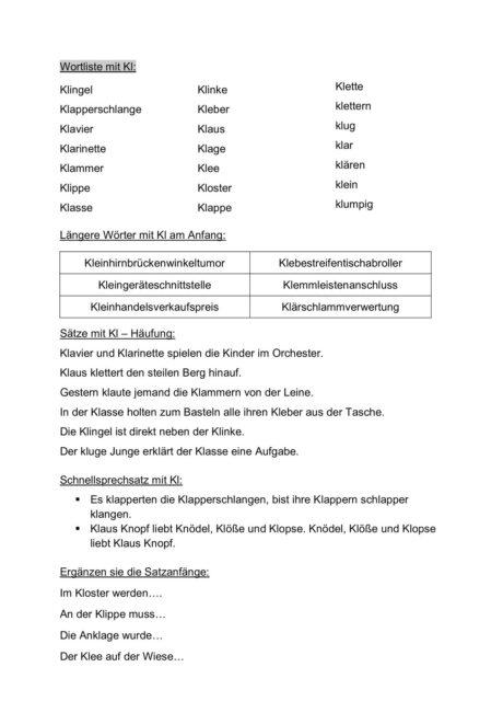 Wortliste KL