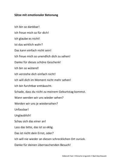 Sätze mit emotionaler Betonung
