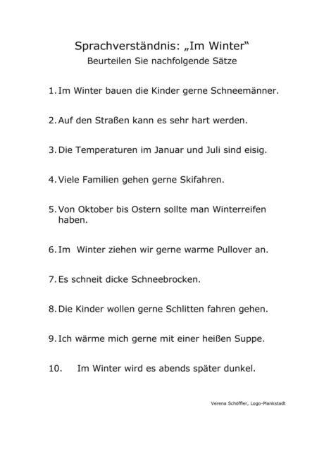 """Sprachverständnis – """"Wintersätze"""""""