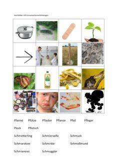 Bildmaterial zu Wörtern mit Konsonantenverbindungen