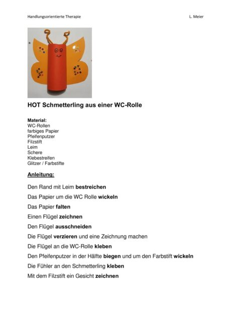HOT Schmetterling aus WC-Rolle