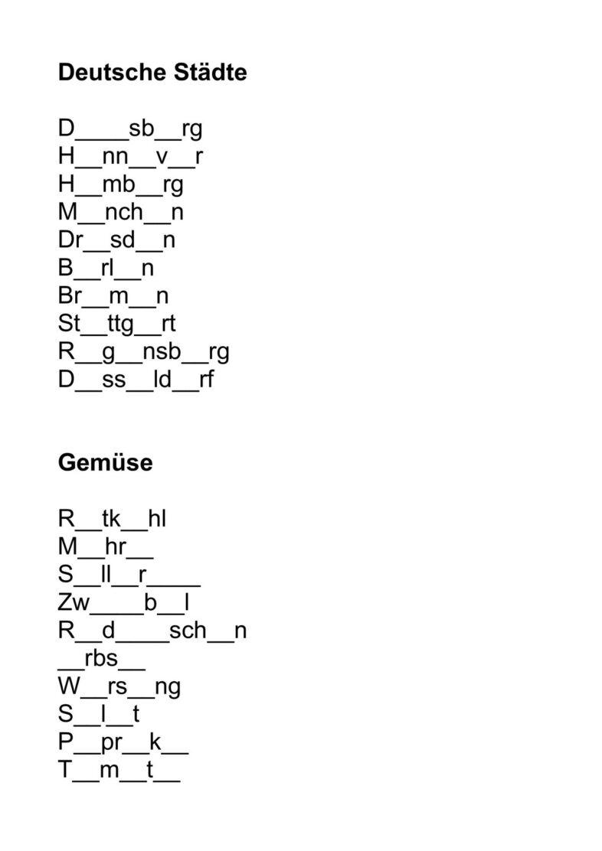 Lückenwörter Vokale, Umlaute, Diphtonge