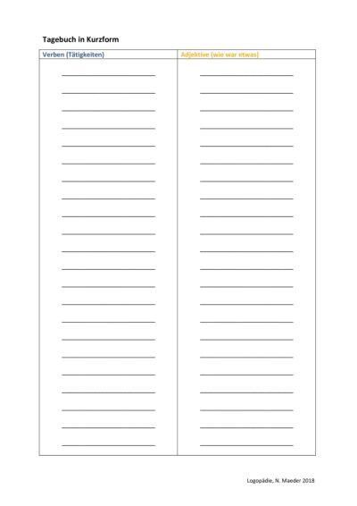 Verben und Adjektive im Tagebuch