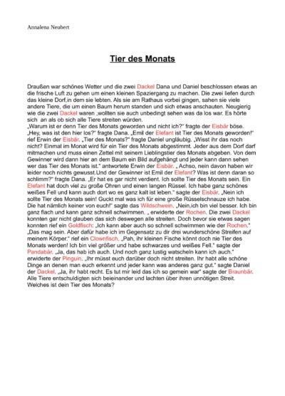"""Geschichte """"Tier des Monats"""" nach PLAN"""