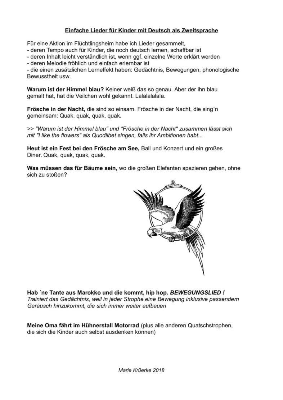 Einfache Lieder für Kinder mit deutsch als Zweitsprache