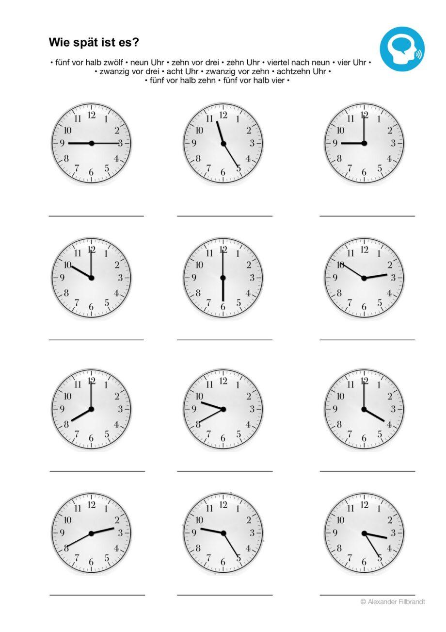 Arbeitsblatt Uhrzeiten Englisch : Uhr lesen aphasie madoo