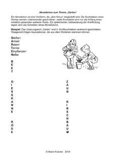 """Wortfindungsübung zum Garten: """"Akrostichon schreiben"""""""