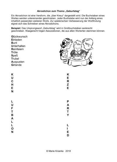"""Wortfindungsübung: Akrostichon """"Geburtstag"""" schreiben"""