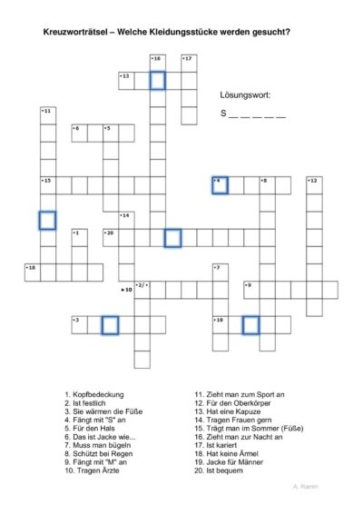 Wortfindung Kreuzworträtsel Kleidung