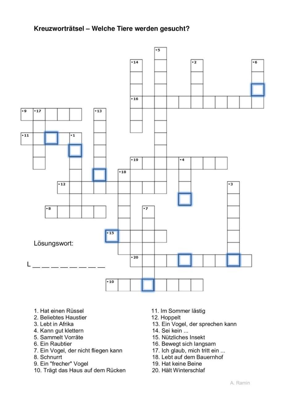 Wortfindung Kreuzworträtsel Tiere