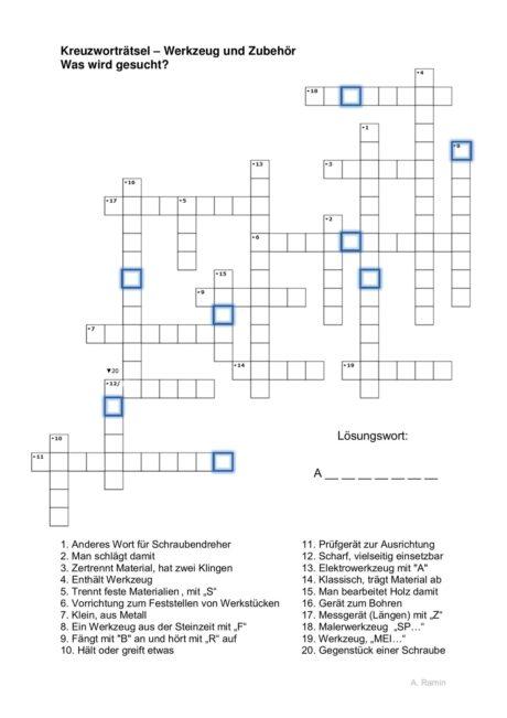 Kreuzworträtsel Werkzeug und Zubehör