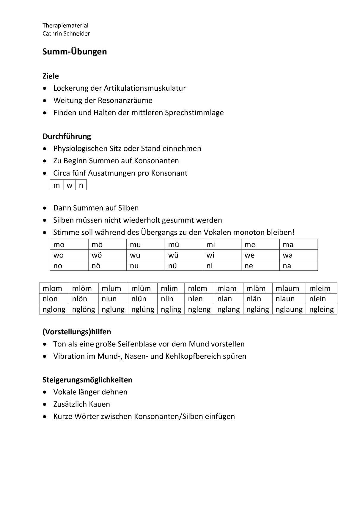Sammlungen mit Summ-Übungen mit m, w, n und ng - Stimme - madoo.net