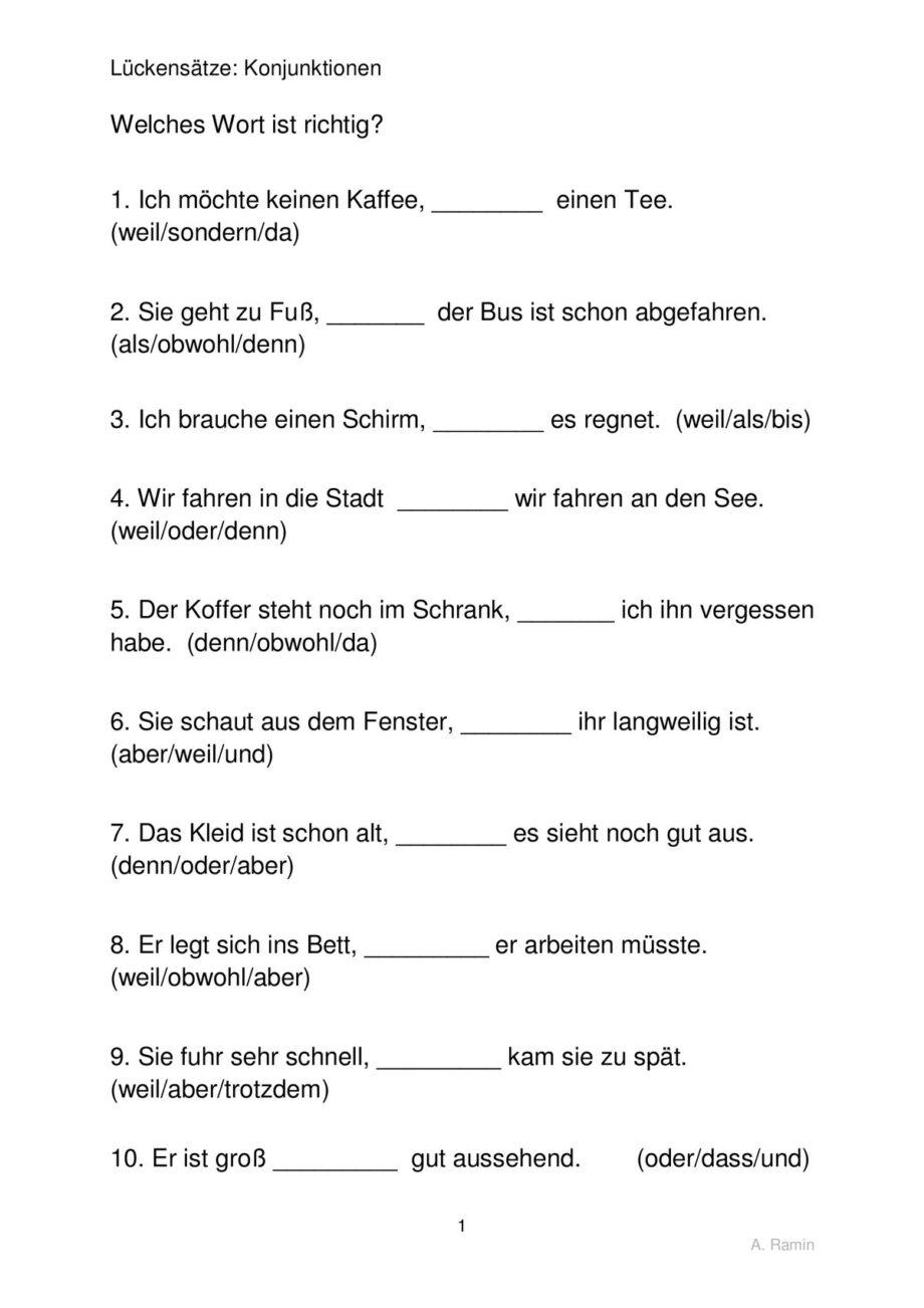 Ausgezeichnet Und Sondern Weil Arbeitsblatt Bilder - Mathe ...