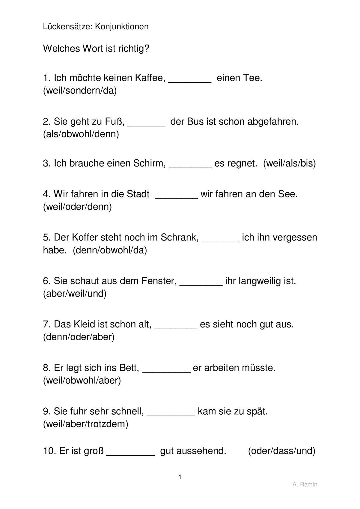 Fantastisch Koordinierende Konjunktionen Arbeitsblatt Zeitgenössisch ...