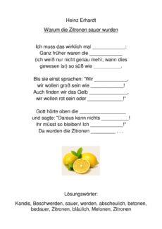 Warum die Zitronen sauer wurden Lückentext
