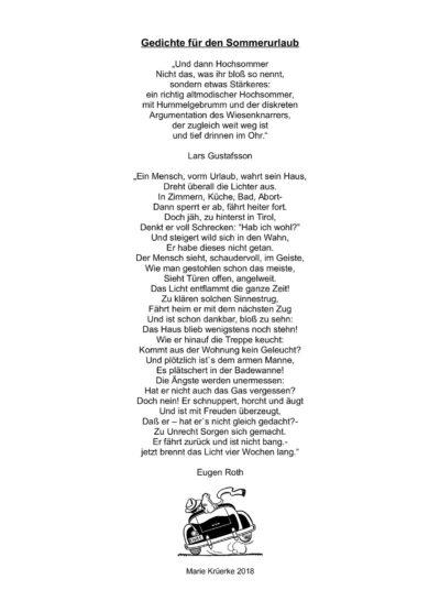 Gedichte für die Urlaubszeit
